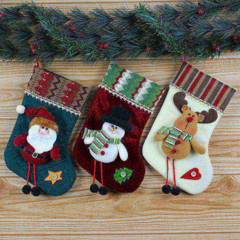 Christmas Socks Santa Claus Christmas Hanger Xmas Ornaments Plush Candy Gift Bags 2017 New