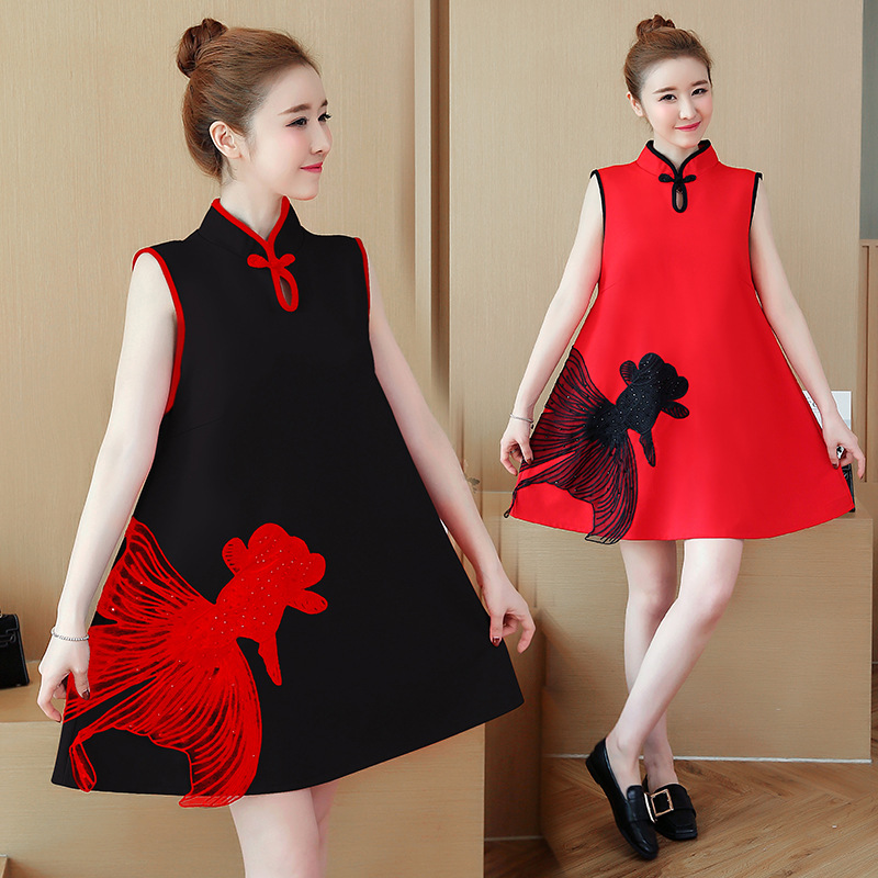 Chinese Style Cheongsam Dress Japanese kawaii Girls Harajuku Vintage Gothic Fish Black Red Loose Lolita Dresses Big Size