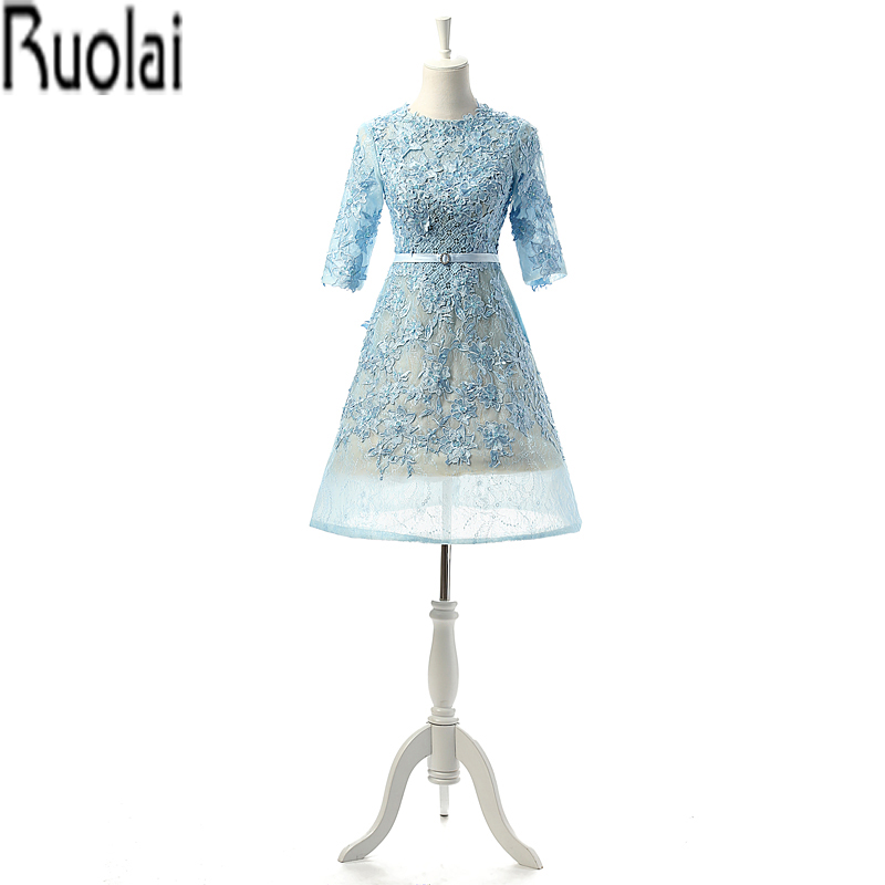 Blue New Arrival Charming 2016 Half Sleeves A Line Knee Length Lace Applique Beading Formal Prom Dresses For Party