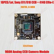 """10 قطعة/الوحدة 32x32 مللي متر 700TVL 1/3 """"873 872 811 810 CCD Effio E 4140 DSP لوحة وحدة كاميرا CCTV التناظرية ث/كابل فيديو التحكم OSD"""