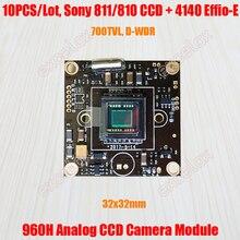 "10 unids/lote 32x32mm 700TVL 1/3 ""873, 872, 811, 810 CCD Effio E 4140 DSP CCTV analógico Placa de módulo de cámara w/DE Control OSD Cable de Video"