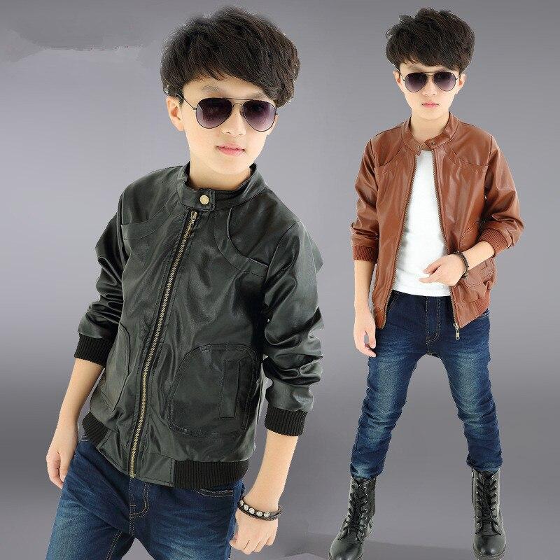 Осень-зима Одежда и аксессуары для мальчиков Детское пальто кожаные куртки для мальчиков с капюшоном из высококачественной искусственной ...