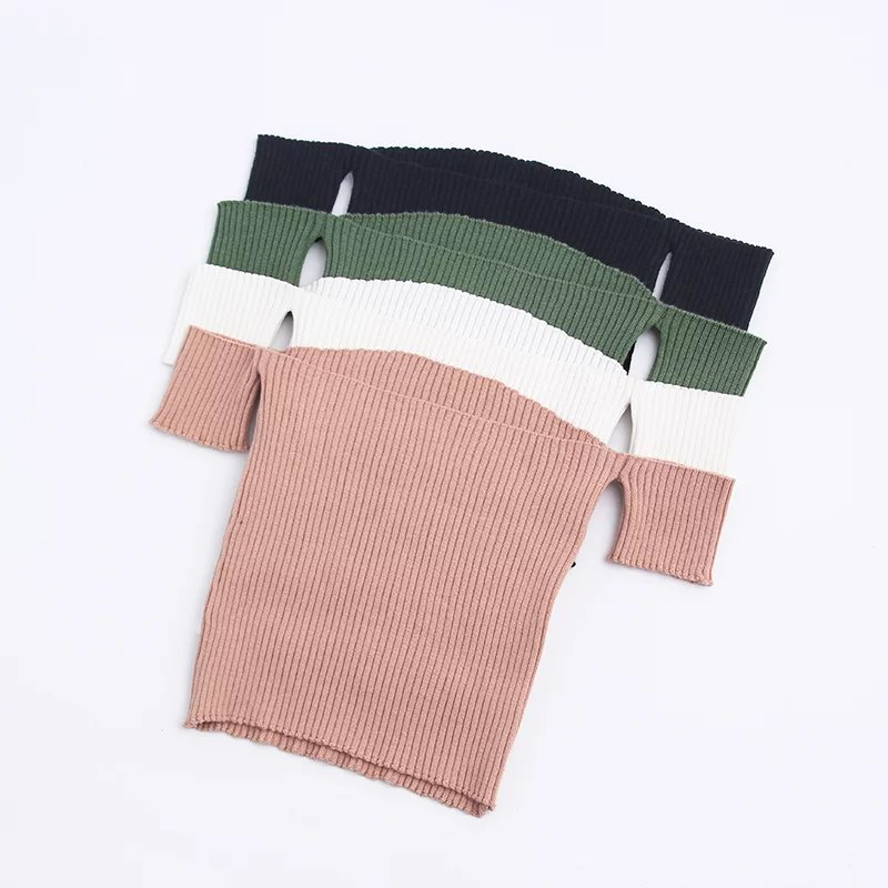 GOPLUS Women Slash Neck Crop Top Striped Knitted Off Shoulder Short Tops For Women Slash Neck Short Sleeve T Shirt Tee C5804