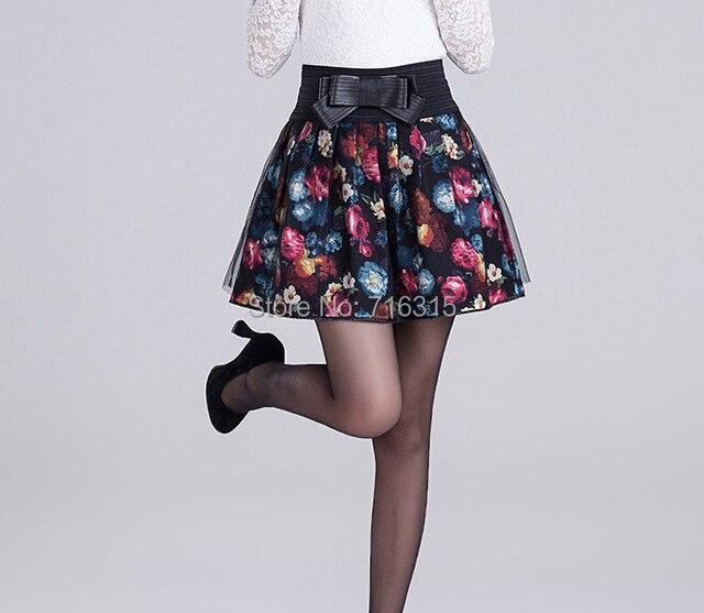 2016 Women High Waist Pleated Floral Short Mini Skirt Skater Women Skirt Mini Skirt for Women