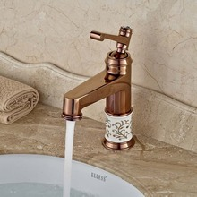 Luxury Rose Golden Bathroom Mixer Faucet Single Handle Basin Vessel Sink Faucet with Hot Cold Water
