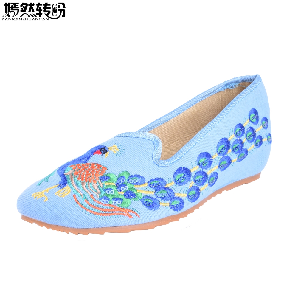 New Embroidery Women Shoes Elegant Pointed Toe Chinese Old Beijing Canvas Peacock Embroidered Single Dance Ballet Shoes women flats old beijing floral peacock embroidery chinese national canvas soft dance ballet shoes for woman zapatos de mujer