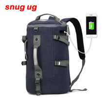 SNUGUG USB High Capacity Travel Bag New Arrival Cylinder package Multifunction Rusksack Male Fashion Backpack Drop Shipping