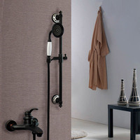 Bathroom black antique copper shower set fashion mixing valve american style bathtub faucet