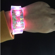Free Shipping 5pcs/lot Flashing Wrist Band HAPPY Luminous Hand Ring Led Bracelet Children Party Toy