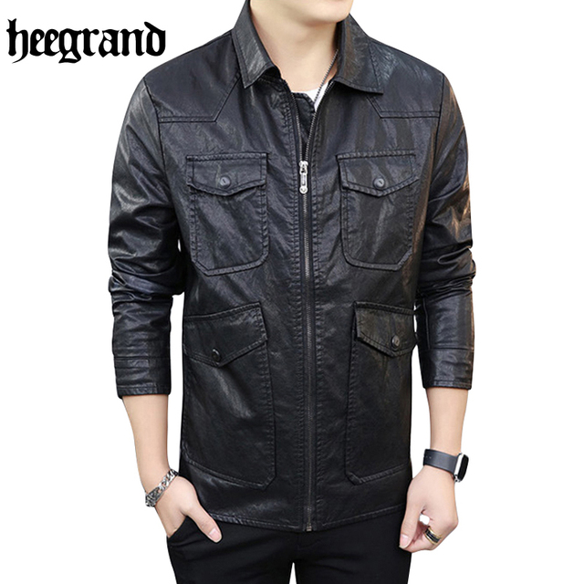 HEE GRAND 2017 Motorcycle Leather Jacket Men Autumn Winter Leather Clothing Men Leather Male Business Casual Coats MWP370