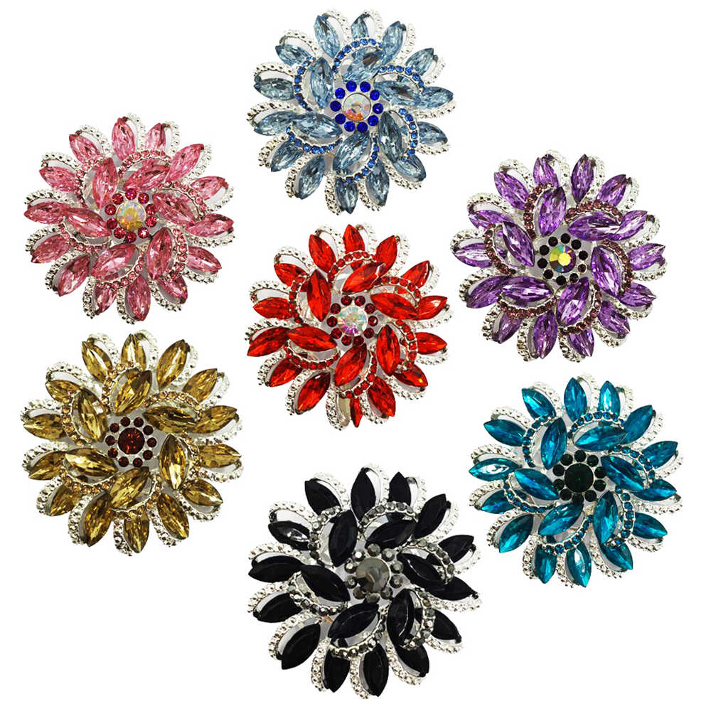 6.3cm Large Flower Women Costume Brooches Back Safety Pins BA010