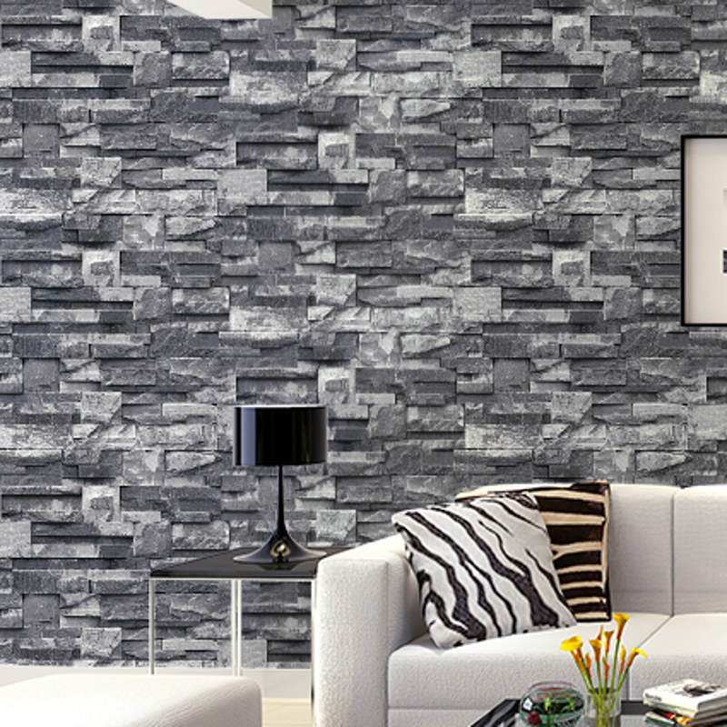 Grey brick wall wallpaper images - Papier peint imitation pierre ...