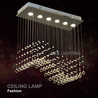 Rectangle Crystal Ceiling Light Fixture GU10 Bulbs Crystal Curtain Wave Ceiling Lights For Dining Room Prompt