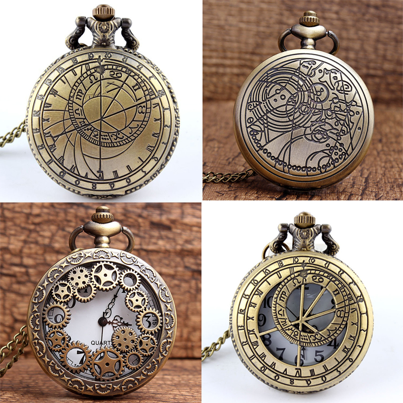 Dr. Who Pocket Watch Fob Chain Doctor Who UK The United Kindom Clock Hollow Engrave Mens Bronze Flip Case Watches for Women Men uk movie doctor who pocket watch men quartz fashion necklace dr who luxury gift box set best gift free shipping