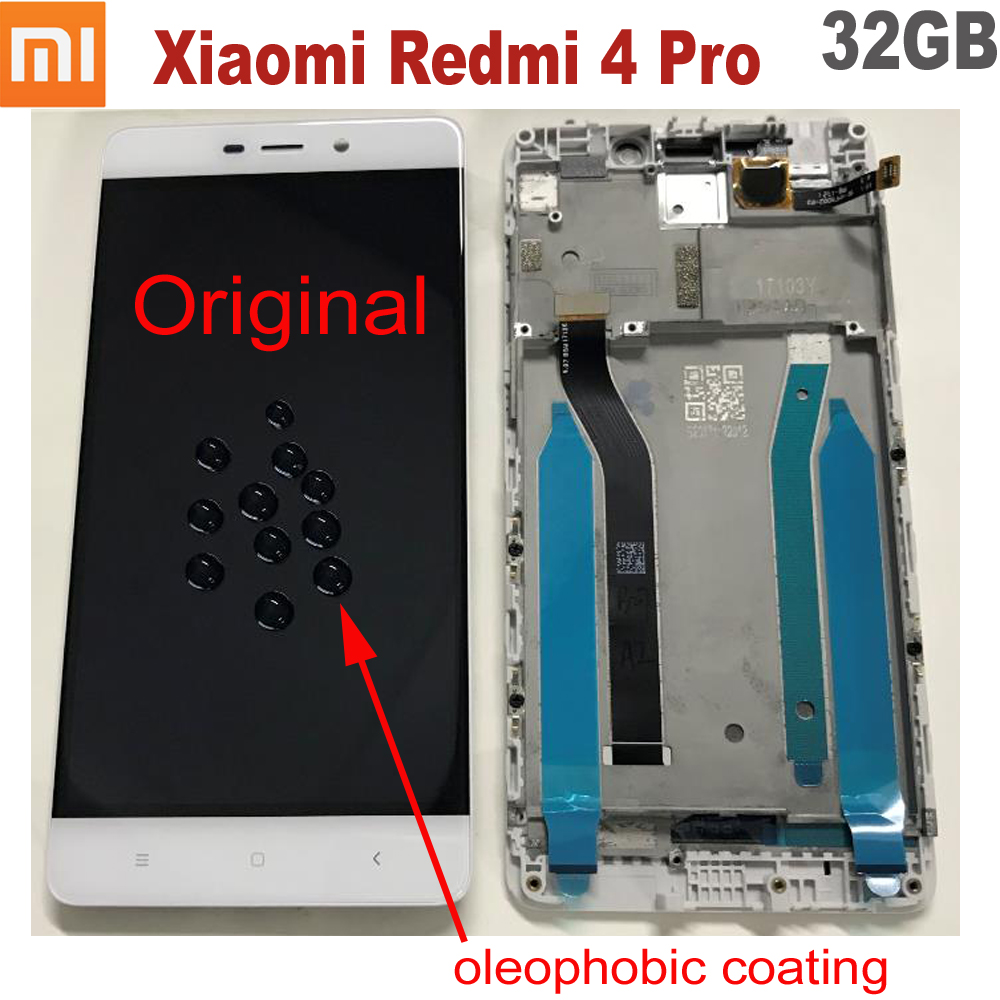100% Original New Work Xiaomi Redmi 4 Pro 10 Touch Screen Digitizer LCD Display Assembly Sensor With Frame Redmi 4 Prime 32GB