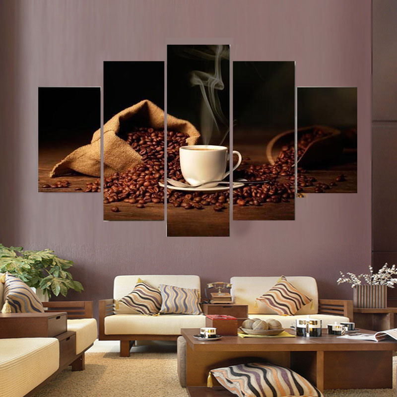 Haochu 5 Picture Combination Coffee Group Canvas Painting