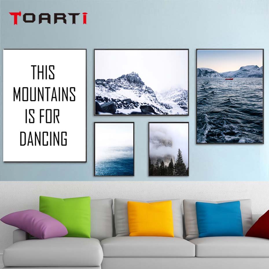 The Vast Sea Mountain Is For Dancing Nordic Landscape Poster&Print Wall Picture For Bedroom Canvas Painting Art Mural Home Decor (1)
