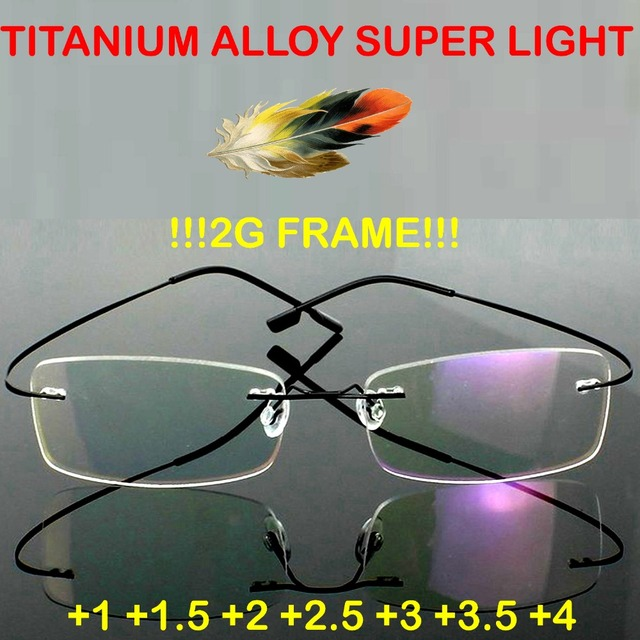 =2016 GENUINE=Brand Titanium 2g frame!! super light  Rimless Ultra Light Reading Glasses +1 +1.5 +2 +2.5 +3 +3.5 +4