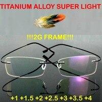 2016 GENUINE Brand Titanium 2g Frame Super Light Rimless Ultra Light Reading Glasses 1 1