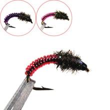 6pcs #12 Pink Red Purple Caddis Larva Chironomid Midge Pupa Buzzer Zebra Nymph Trout Flies Fly fishing Hook
