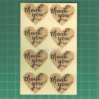 500pcs/lot self-adhesive label stickers Thank You kraft label sticker Heart Shape For DIY Hand Made Gift /Cake/Candy wholesale