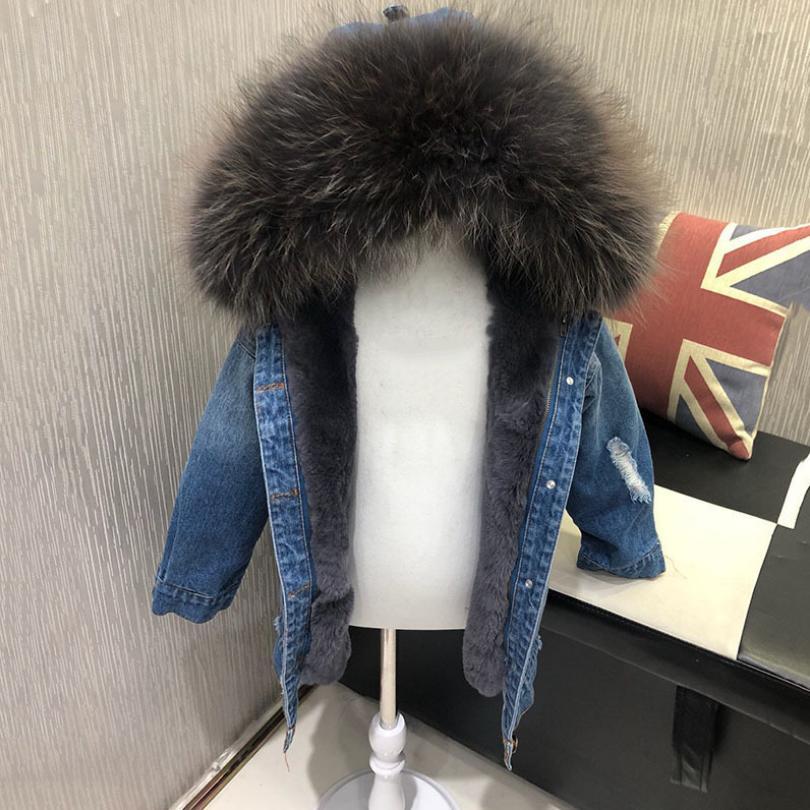 4-12y manteau de fourrure véritable pour enfants vestes de fourrure à capuche bébé garçons filles Denim manteau chaud Parka fourrure naturelle hiver épais manteau Y18