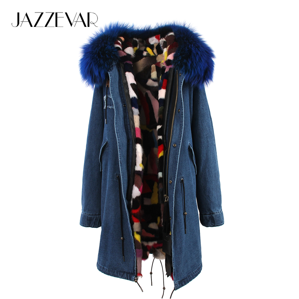 JAZZEVAR 2019 New Women's Luxurious Large Raccoon Fur Collar Hooded Coat Parka Real Mink Liner Denim Winter Jacket Long Style