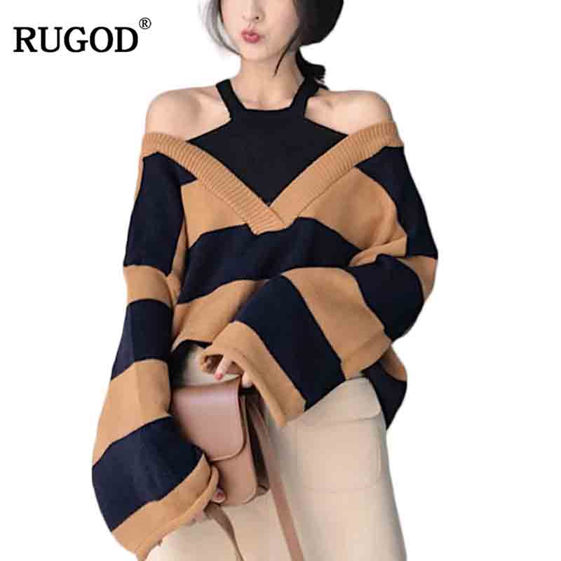 RUGOD Off-shoulder Sweater For Women Knitting Long Sleeve Loose Pullover Female Christmas Sweater jersey mujer invierno