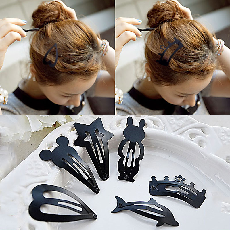 LNRRABC 2 Pcs/lot Hot Sale Girls Kids Fashion Popular Lovely Black Hair Barrette Hairpin Hair Accessories Women Headwear 1pc fashion lovely women girl metal leaf hair clip crystal hairpin barrette headwear christmas party hair accessory 2016 hot