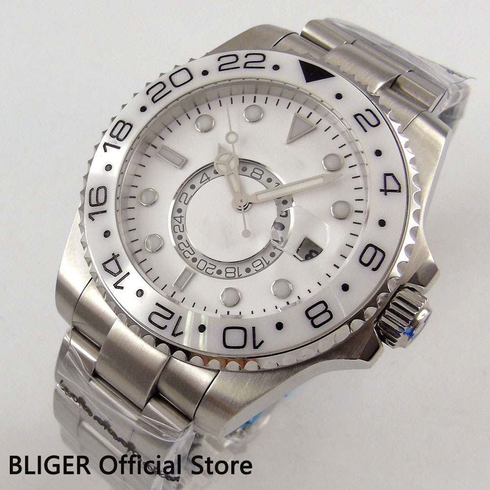 Saatler'ten Mekanik Saatler'de 43 MM BLIGER Beyaz Kadran Safir Cam GMT Ekran erkek saati Seramik Çerçeve Tarih relojes hombre 2018 Otomatik hareket saatleri'da  Grup 2