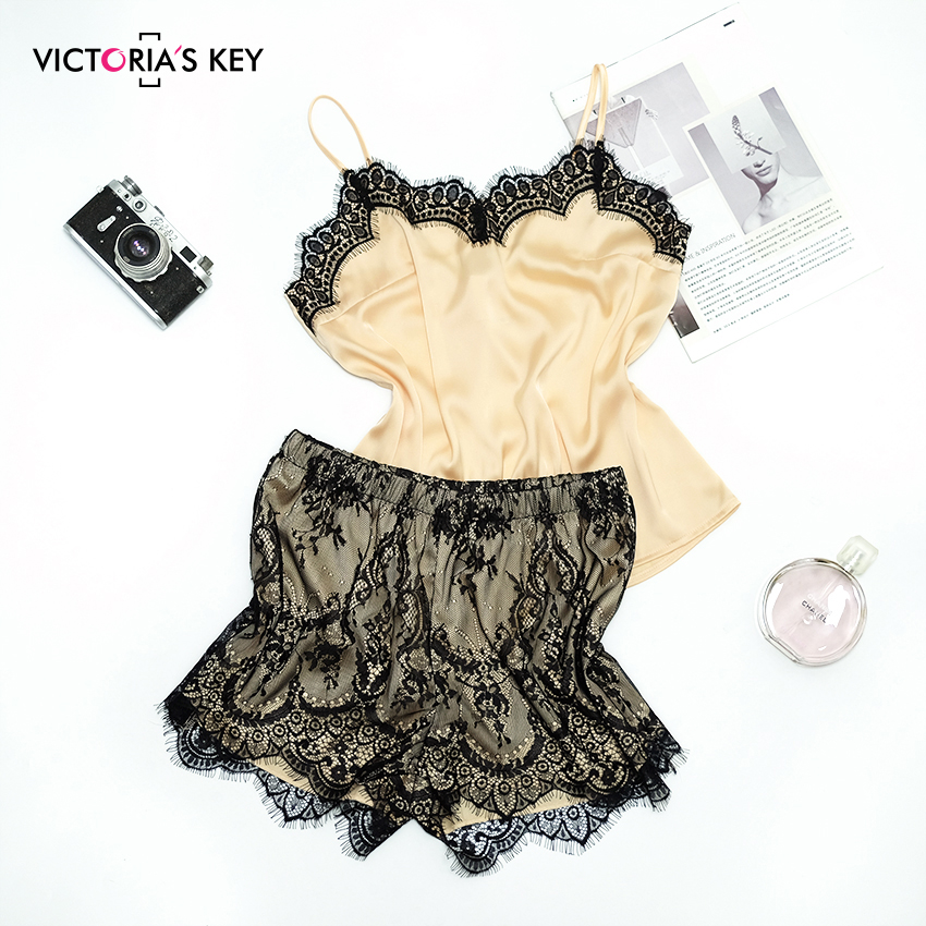 Suphis Satin Sleepwear Women's Camis Top Floral Lace Shorts Home Wear Summer 2019 Casual Sleeveless Gold Silk Pajama Set
