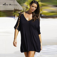 Lan Karswear New 2017 Summer Dresses Sexy V-neck Big Size Women Beach Dress Casual Mini Dress Plus Size Women Clothing Vestidos