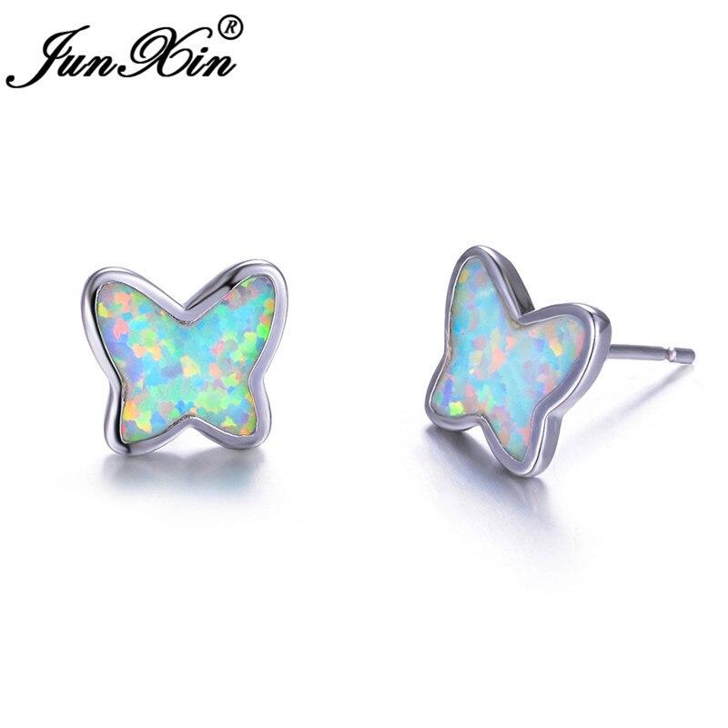 JUNXIN Cute Animal Butterfly Stud Earrings For Women White Fire Opal Earrings Silver Color Small Wedding Earrings Jewelry