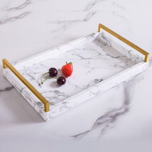 Light Luxury Home Nordic Rectangular Marble Pattern Tray Jewelry Storage Tea Classic Anti-made