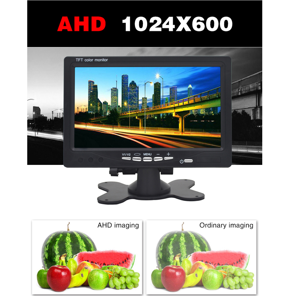 Mini Digital 1024*600 7 Inchs LCD Test Monitor CCTV Surveillance Camera AHD Analog 3 in 1 Security IPS Monitor For Video Camera-in CCTV Monitor & Display from Security & Protection    3