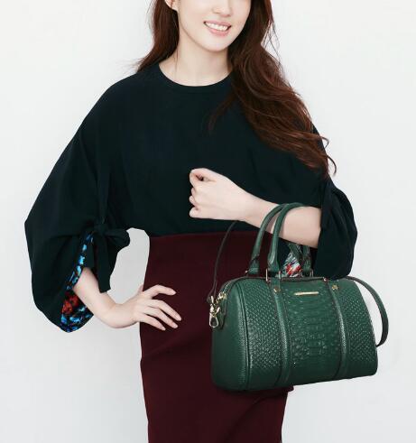 Épaule Main Texture Designer Haute Crocodile Qualité Noir À Véritable Femmes Fourre Sac Sacs vert De Marque Cuir Motif Messenger En tout Yn5xq67Ix