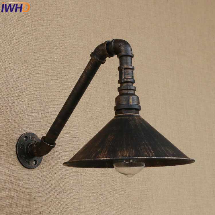 IWHD Industrial Style Loft American country Iron Wall Light Bedroom E27 Retro Water Pipe Wall lamps Vintage Industrial Lighting iwhd loft style creative retro wheels droplight edison industrial vintage pendant light fixtures iron led hanging lamp lighting