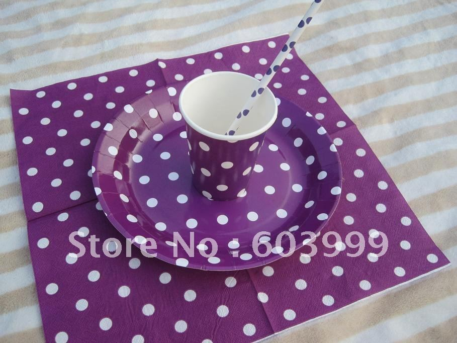 POLKA DOT PURPLE PARTY SUPPLIES Package Party Decorations Party Kit Purple spots napkin cups plates paper straws free ship on Aliexpress.com | Alibaba Group & POLKA DOT PURPLE PARTY SUPPLIES Package Party Decorations Party Kit ...