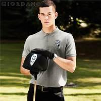 Jordano для мужчин мужская рубашка-поло короткий рукав эластичный ткань с принтом вышитые узоры мужские Поло рубашка Slim Fit бренд Camisa