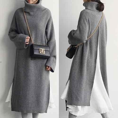 Женский зимний Корейский стиль, с разрезом сзади, уютный, средней длины, водолазка, теплый вязаный свитер, платье, Pull Hiver Femme Sukienki Jurken LM71