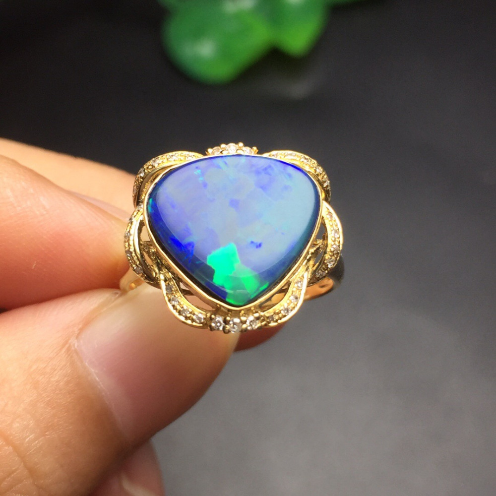 Fine Jewelry Customize Size Cute Real 18K Yellow Gold AU750 100% Natural Black Opal Gemstone Female Rings for Women Fine Ring new pure au750 rose gold love ring lucky cute letter ring 1 13 1 23g hot sale
