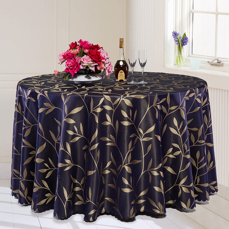 Custom Made Rectangle Tablecloth Hotel Wedding Party Banquet Round Dinning Table Cover Spread Jacquard Brown Blue Burgundy