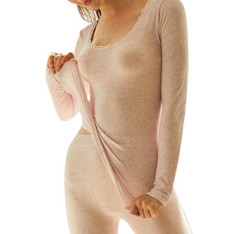 Vrouwen Katoen Lange Onderbroek 2019 Sexy Vrouwen Thermisch Ondergoed Pak Vrouwen Body Slim Dames Intieme Sets Vrouwelijke Warme Pyjama
