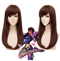 Games OW D.VA Cosplay Wig DVA Wigs Medium Long Straight Dark Brown Synthetic Hair Costume Wigs