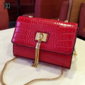 hot sale fashion Metal chains tassel crocodile grain envelope women bag Messenger Bags