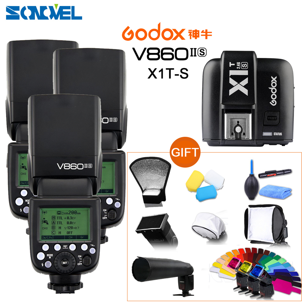 Free DHL ! 3X Godox V860II-S TTL 2.4G GN60 Wireless Li-ion Flash Speedlite+ X1T-S Transmitter for Sony A7RIII A7RII A3500 A6500 sony a6500