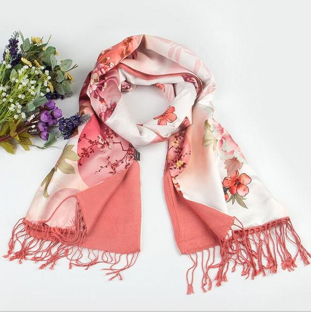 Pink Camellia Flower Pattern Is Digital Print,High-Grade Fabric 100% Silk Scarf Ms Wool Shawls And Wrap In The Winter
