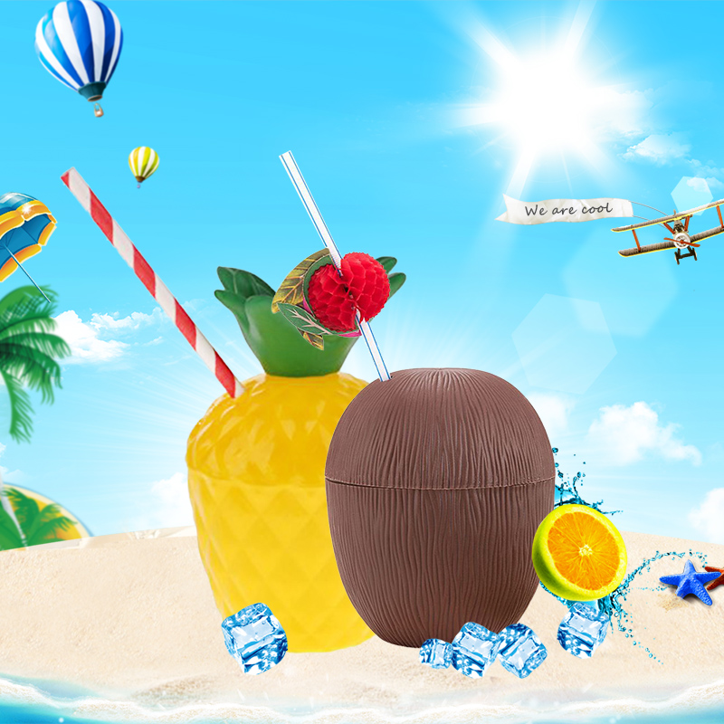 Copieux Plage Ananas Noix De Coco Tasses Fruits Forme Partie En Plein Air Mariage Pique-nique Décorer En Plastique Dessert Table Mise En Page