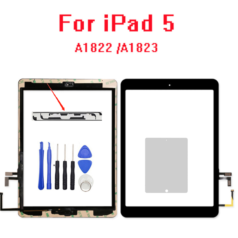 New 2017 Year A1822 A1823 Touch Screen For IPad 5 5th Generation Digitizer Outer LCD Panel Front Glass With Sticker