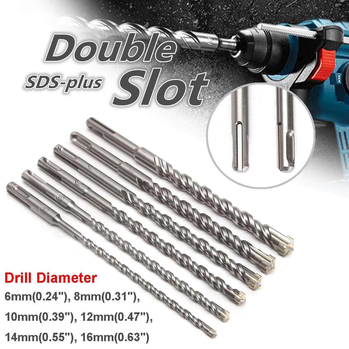 260mm Electric Hammer Drill Bits 6/8/10/12/14/16mm Bi-Metal Cross Type Tungsten Steel Alloy SDS Plus For Masonry Concrete Rock